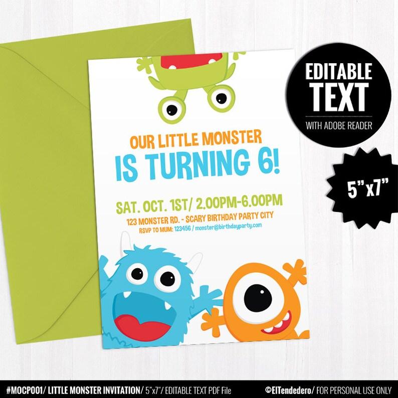 Editable Little Monster Birthday Invitation Template