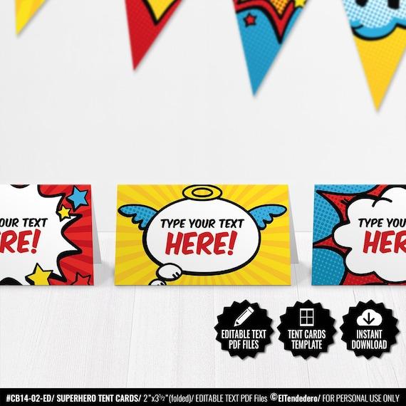Superhero Place Cards Editable Buffet Food Tent