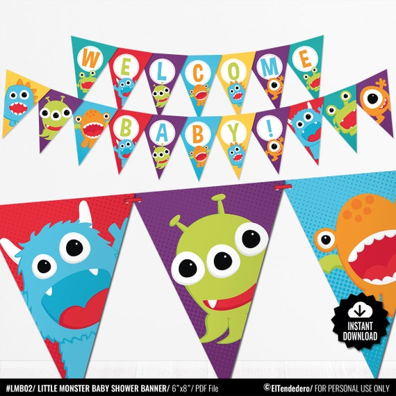 Little Monster Baby Shower Banner Funny Little Monster Decorations Gender Neutral Baby Shower Printable Pdf Instant Download