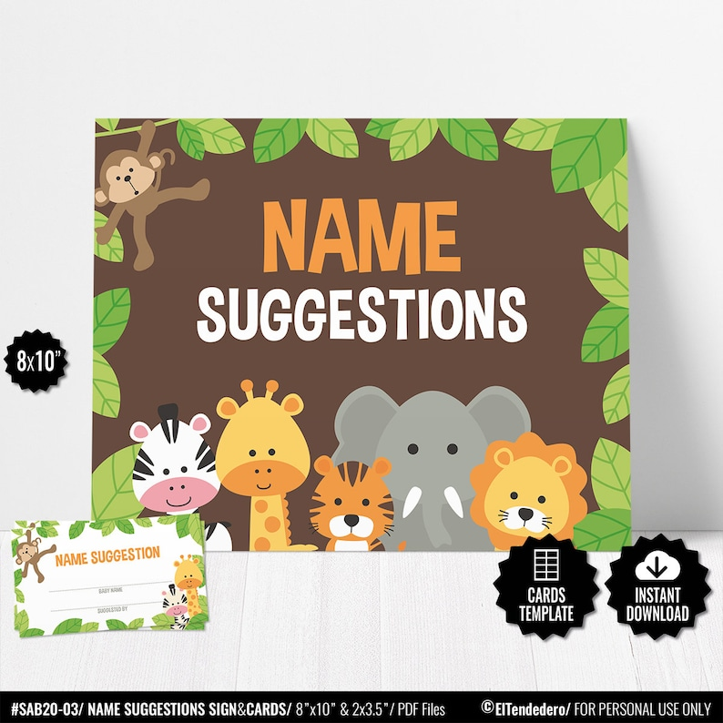 Juego Baby Shower Safari Cartel Y Tarjetas Imprimibles