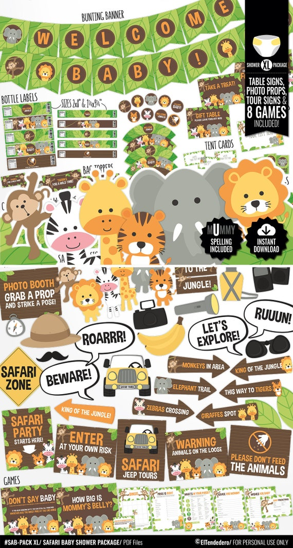 Decoracion De Baby Shower De Animales.Decoracion Baby Shower Safari Pack Imprimible Fiesta Premama Fiesta De Bebe Embarazada Celebracion Despedida Embarazo Nacimiento Bebe