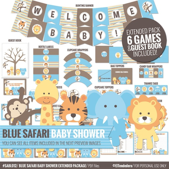Blue Safari Baby Shower Decorations Package Printable Jungle