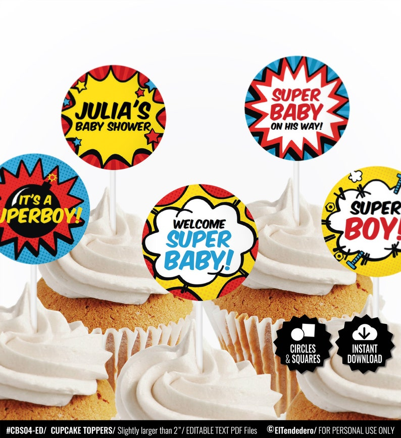 picture about Superhero Cupcake Toppers Printable referred to as SELF EDITABLE Superhero Cupcake Toppers. Printable Cupcake Decor. Dessert Toppers. Comedian Ebook Toppers. Birthday - Youngster Shower Decoration