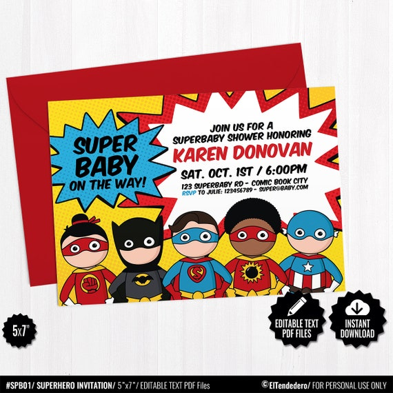graphic about Printable Superheroes referred to as Superhero Invitation Template - Printable Superheroes Comedian E book Concept Invite - Little one Shower Editable Invitation - Immediate Down load