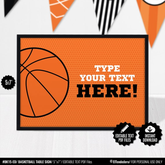 Basketball Place Cards Editable Table Signs Buffet