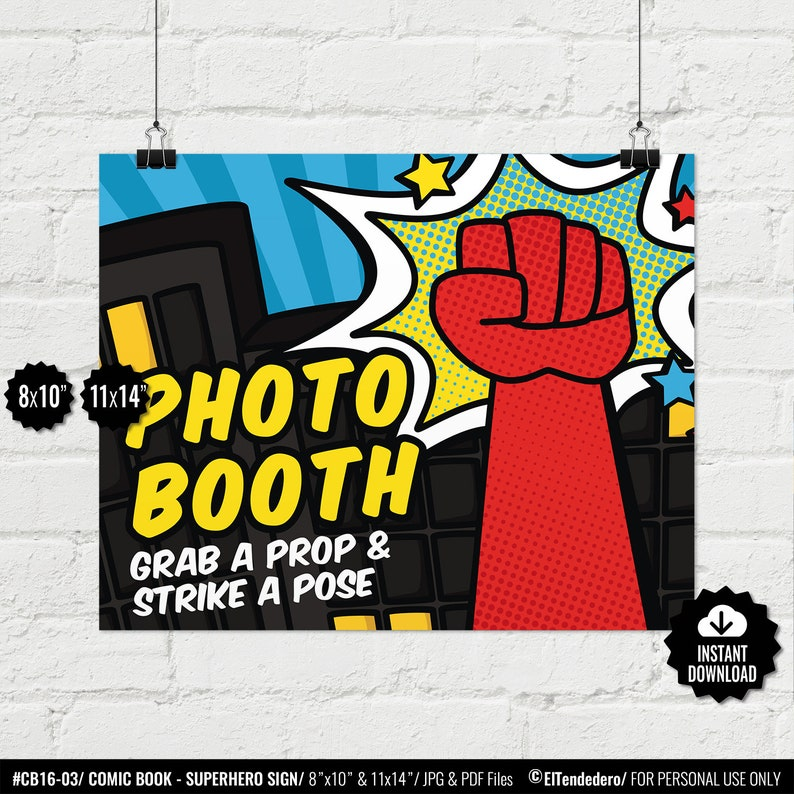image about Free Printable Superhero Photo Booth Props titled Superhero Image Booth Indication. Printable Comedian Guide Photobooth. Picture Station. Birthday Occasion - Kid Shower Picture Visitor Ebook. Selfie Station