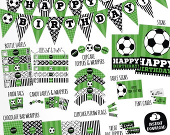 Soccer Birthday Party Decorations Package. Printable Soccer Theme Decor. Green Kids Team Party. Boy Sports Printables. Digital Download