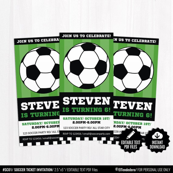 editable soccer ticket invitation template printable sports etsy