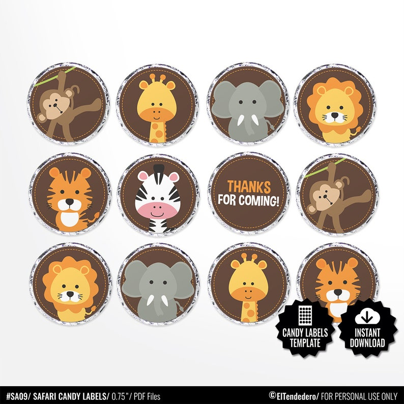 picture about Printable Round Stickers known as Safari Sweet Labels. Printable Spherical Stickers - 0.75 inch Circles -Kiss Stickers. Birthday - Little one Shower Favors - Spherical Pictures Collage Sheet