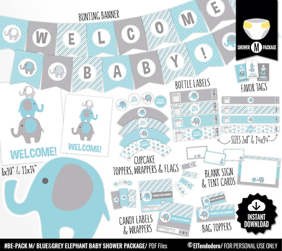 Blue Elephant Baby Shower Decorations Printable Blue And Gray Baby Shower Package Cute Baby Boy Shower Decor Digital Download