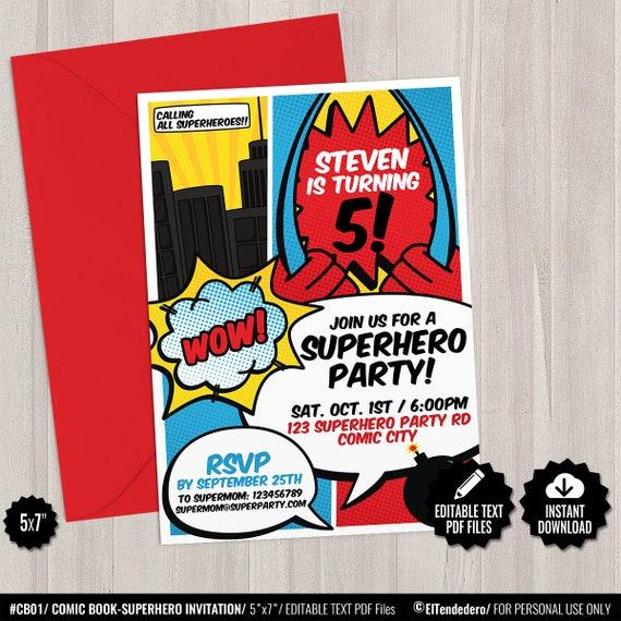 Superhero Invitation Template Printable Superheroes Comic Etsy