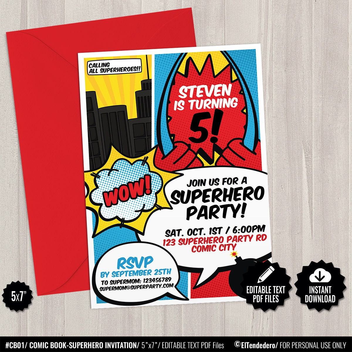 Superhero Invitation Template. Printable Superheroes Comic | Etsy