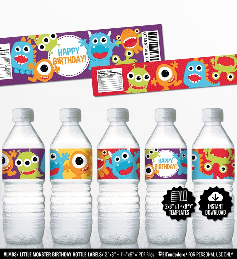 Little Monster Birthday Bottle Labels Printable Party Water