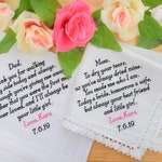 Embroidered Wedding Handkerchiefs, Personalized Handkerchiefs, Father of the bride Gift from Bride, Wedding Gifts for Parents Hankerchief