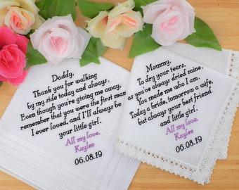 1b9b6e082f9c Custom Handkerchiefs. Mother of the Bride gifts and Father of the Bride  gifts from daughter. Wedding Handkerchiefs. Embroidered bridal hanky