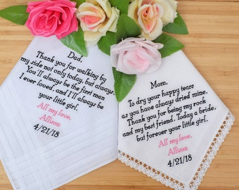 Set of 2 Embroidered Handkerchiefs. Mother and Father of the Bride Handkerchiefs. Personalized Handkerchiefs gifts for Parents Hankies