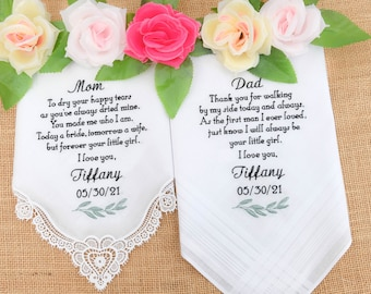 Embroidered Handkerchiefs Mother of the Bride gift and Father of the Bride Handkerchief Wedding gifts for Parents of the Bride Hanky Gift