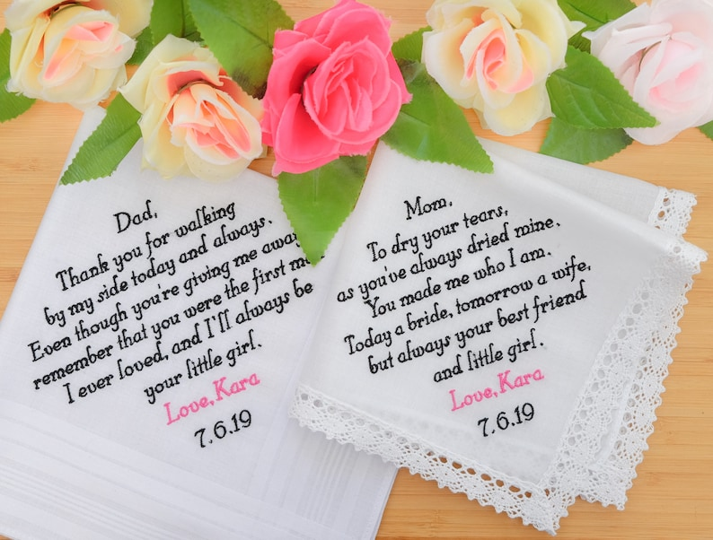 Embroidered Wedding Handkerchiefs Personalized Handkerchiefs image 0