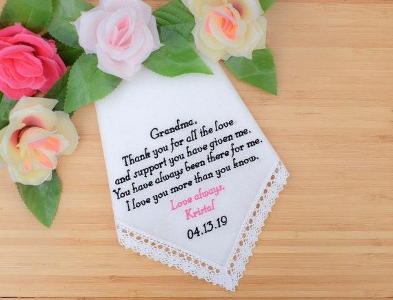 Nanny HY1180B Nana grandma To my Granddaughter on her wedding day Handkerchief from Grandmother Nan