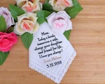 Mother of The Bride Handkerchief. Wedding Handkerchief. Embroidered Hankie.  Personalized Hankie. Custom Handkerchief. Wedding Hankie/Gift