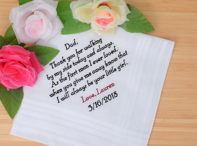Wedding hankie Custom handkerchiefs.Embroidered hankie.Wedding handkerchiefs.Personalized gift for Dad Father of the Bride gift from Bride