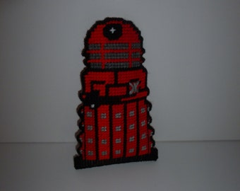 Handmade Red Dalek Doctor Who Toy Or Decoration Handstitched Plastic  Canavas Great Whovian Gift