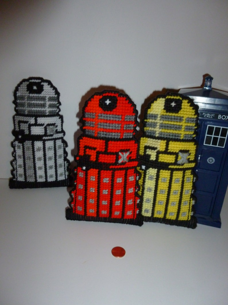 Yellow Plastic Canvas Dalek Toy  Hanging Decorationfor Big or Little Whovians  BBC America TV Show