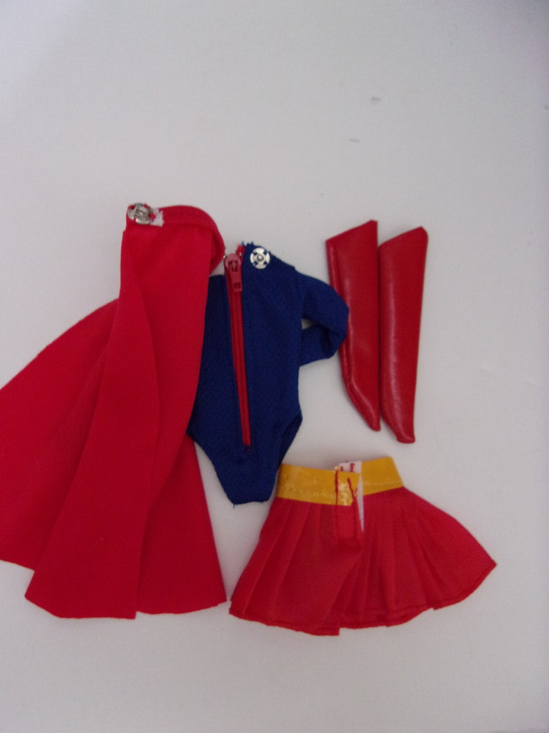 dca7cd1ee8cc4 Barbie Doll Supergirl Outfit Bodysuit, Cape, Boots, Skirt Handmade Costume  Shero Model Muse Body