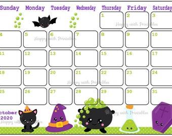 Halloween 2020 Calendar Printable October calendar | Etsy