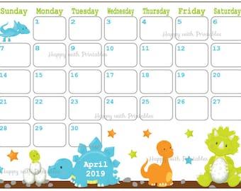 April 2019 Calendar Etsy