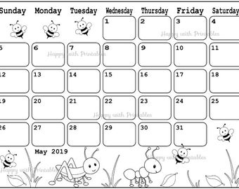 Calendar March 2019 Coloring page Planner Printable Spring