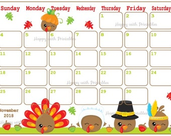 calendar november 2018 thanksgiving planner printable thanksgiving planner kawaii theme november 2018 planner november calendar