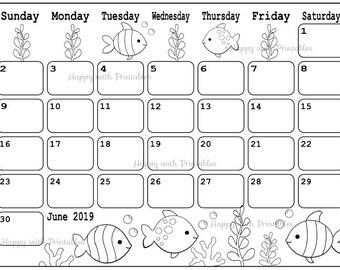 June 2019 calendar   Etsy