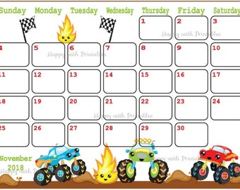 calendar november 2018 monstertrucks planner printable planner for boys boys theme november 2018 planner 2018 november calendar