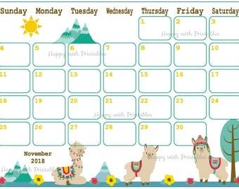 calendar november 2018 llama planner printable cute planner mix and match theme november 2018 planner 2018 llama calendar