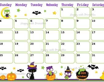 October 2020 Calendar Halloween Decorative October calendar   Etsy