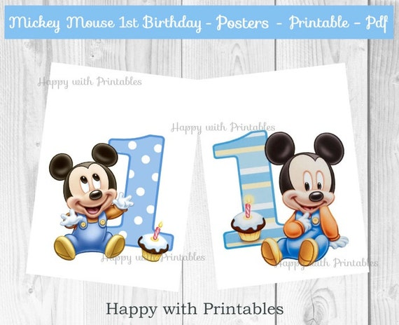 Baby Mickey Mouse 1st Birthday.Mickey Mouse 1st Bday Posters Baby Mickey Mouse Posters Mickey Mouse Party Mickey Mouse 1st Birthday Baby Mickey