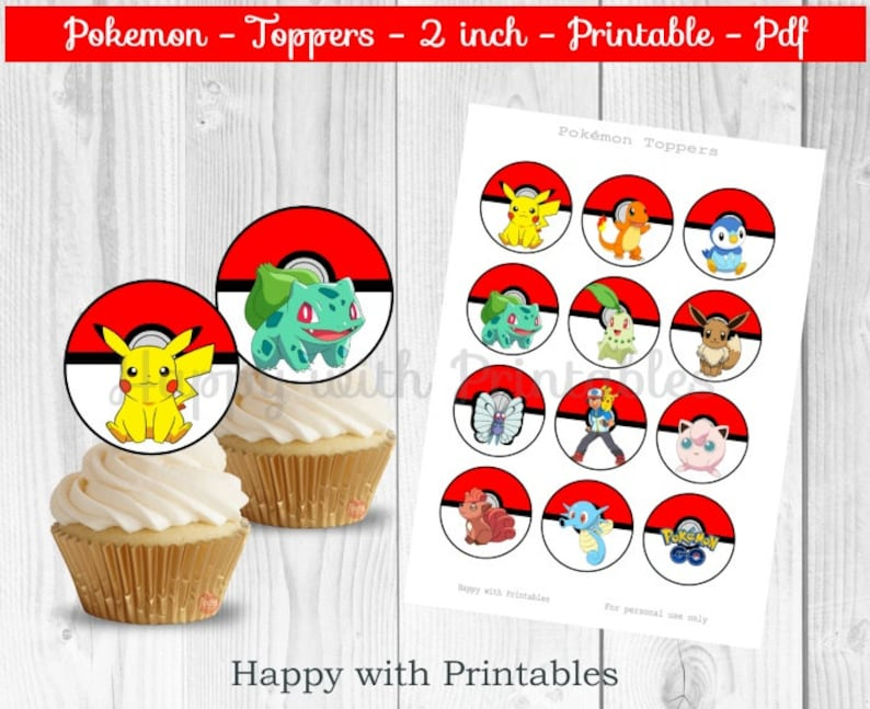 graphic regarding Pokemon Cupcake Toppers Printable identify Pokemon cupcake Toppers - Pokemon toppers - Pikachu toppers - Pokemon 2 inch - 2 inch Toppers - Pokemon occasion - Pokémon Move cake toppers