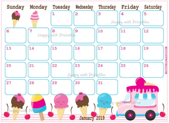 Items similar to Calendar January 2019 - Ice cream Planner ...