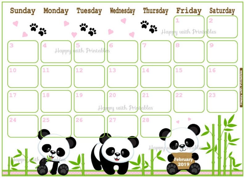 Calendar February 2019 Cute Panda Planner Printable Cute Etsy