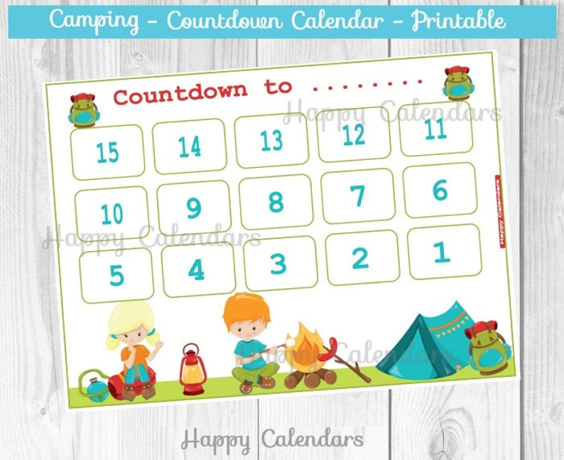 image relating to Countdown Calendar Printable identified as Countdown Calendar Tenting concept - Lovable countdown Printable - Tenting concept countdown - Trip countdown - Summer months Calendar - times right until