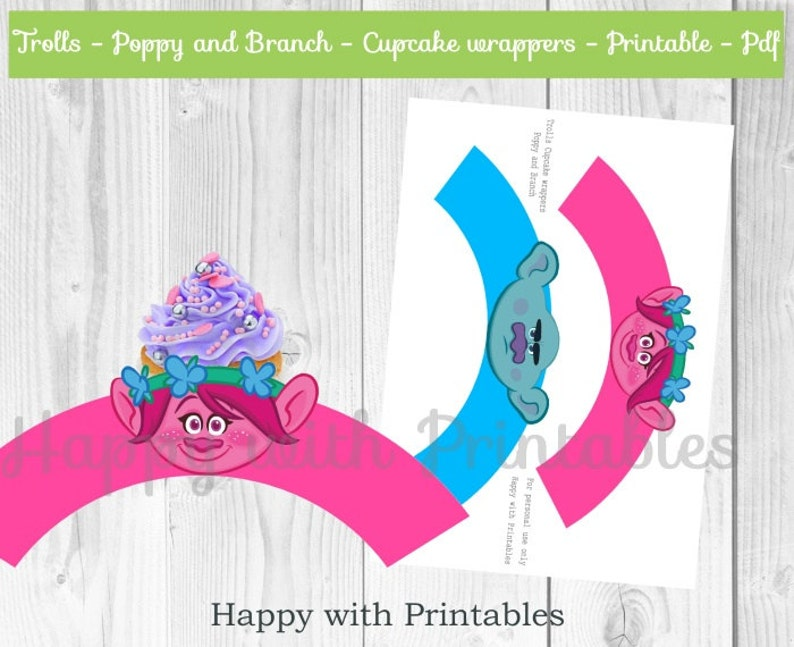 graphic relating to Trolls Printable called Trolls Cupcake wrappers - Trolls wrappers - Poppy Cupcake wrapper - Department cupcake wrapper - Trolls printable - Trolls bash printables