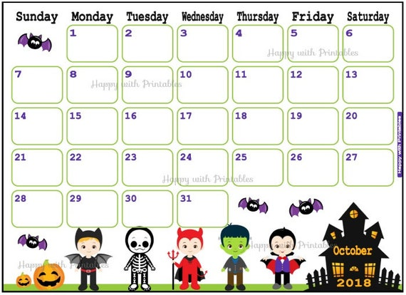 Items Similar To Calendar October 2018 Halloween Planner Printable