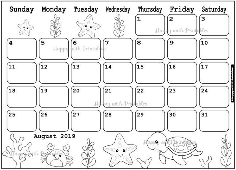 Calendar August 2019 Coloring Page Planner Printable Cute Seaworld Stamp Bujo Coloring Page Theme August 2019 Planner 2019 Doodle