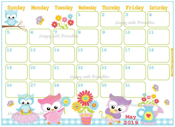 Calendar May 2019 - Cute Spring Planner Printable - Cute Planner - ANIMALS  theme - May 2019 Planner - 2019 May Calendar - 2019 - cute owls