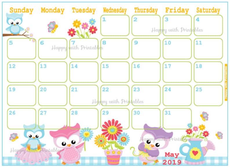 Calendar May 2019 Cute Spring Planner Printable Cute Etsy