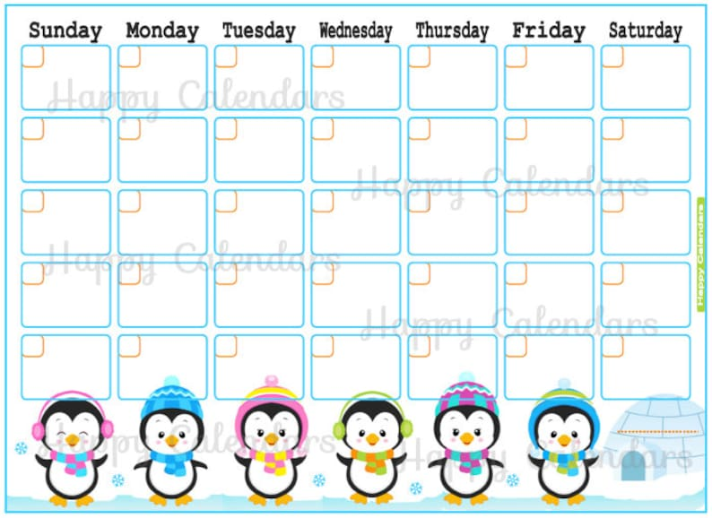 photo about Penguins Printable Schedule named Blank Every month Calendar Penguin topic - Lovely Penguin Planner Printable - Adorable no dates Planner - Concept Planner - Lovely Penguins Calendar blank