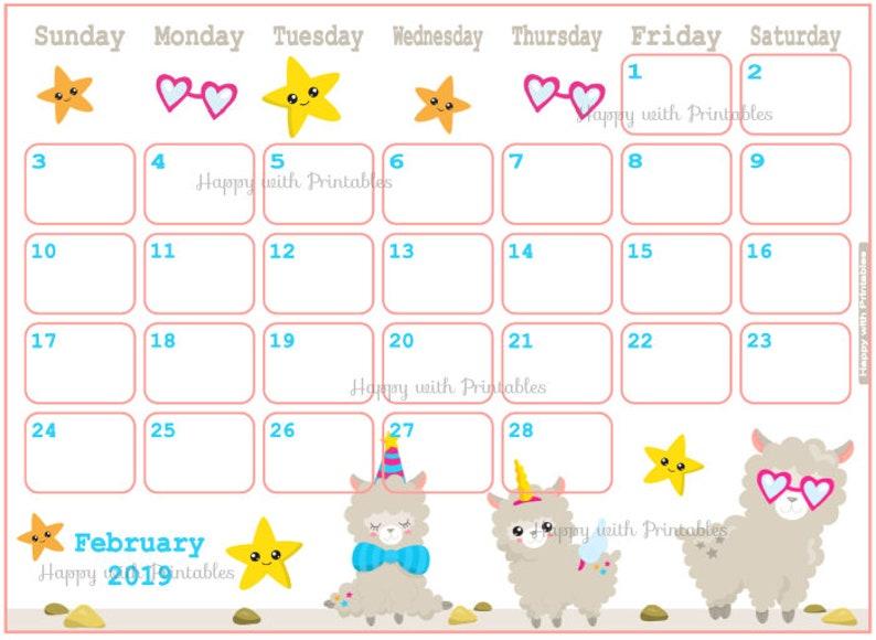 Calendar February 2019 Llama Planner Printable Cute Etsy