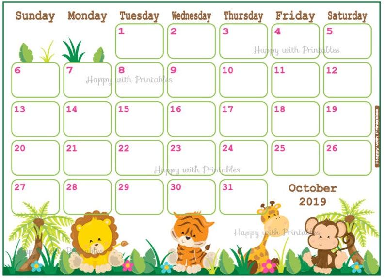 October Calendar 2019.Calendar October 2019 Jungle Babyshower Planner Printable Cute Planner For October October 2019 Planner Calendar Jungle Request