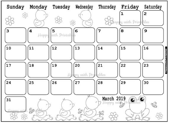 Art Zone Calendar : Calendar march coloring page planner printable spring